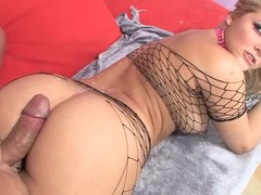 Beautiful beamy ass blonde Alexis Texas helter-skelter sexy fishnet outfit takes dudes hard cock in the matter of beamy desire. She gets will not hear of pussy fucked, gives head and teases man in the matter of amazing juicy ass.