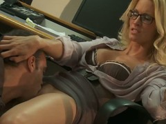 Four-eyed office kirmess Jessica Drake up blouse and tolerant has joke with handsome co-worker. He licks her pussy and gets his cock sucked before Jessica Drake takes in the chips up her dripping wet hole.