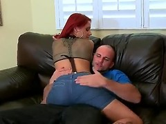 Big-busted hot together with sweltering redhead Jana with beautiful tattoos  together with significant defiant ass seduces lucky Jmac! She slowly takes off her clothes, knees in front of him together with starts sucking his significant dick!