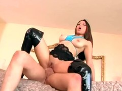 Black thigh high boots sex with a leggy brunette