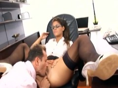 Sexy secretary has lovemaking in stockings and a garter