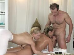 DaneJones girl has two strong men massaging their way