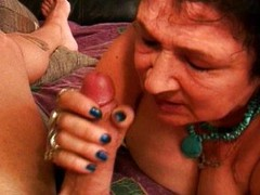 Horny granny swallows cock