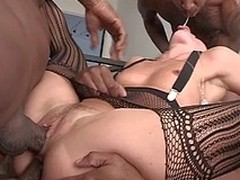 Sexy Sheena win fucked hard by three lowering dicks in all her holes