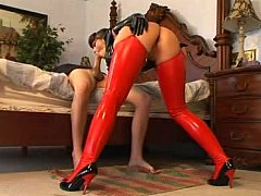 Order about babe in latex getting fucked
