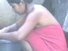 stunning desi townsperson virgin gal flushing outside