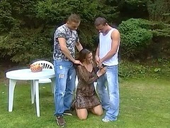 Amateur dealings movie less a torrid babe less two big cock in a alfresco dealings
