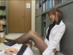 Japanese secretary handjob/footjob in pantyhose