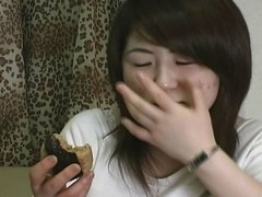A fat guy foreign Japan gets fed a cute girl's chewed up food