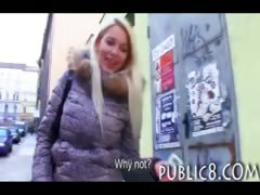 Astounding blondie Czech girl picked up and pounded for some cash