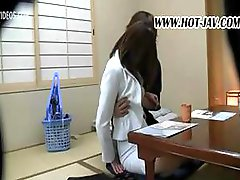 Japanese babe gets nailed at dinner and sucks and fucks his cock