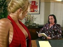 Blond office slut sucking her boss retire from