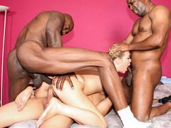 Slutty Shani Reid is gang banged by three large black schlongs.