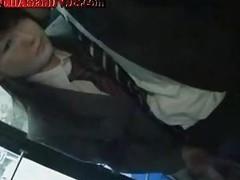Jap Schoolgirl Gives Handjob On Bus