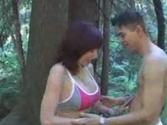 Hot Busty Brunette Cougar Banged Outside After Run