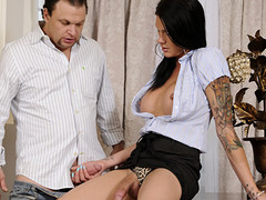 Mr Big tall ladyboy prostitute styled over to undecorated guy's knob