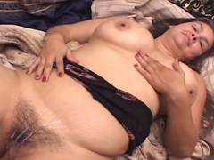 Chubby subfuscous with huge boobs gets fucked in their way hairy pussy