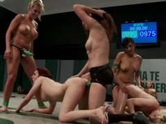 Four lesbians tussle on tatami and share two strapons