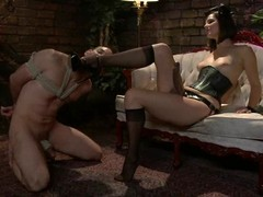 Jason Miller gets whipped and toyed by his nasty bit of skirt
