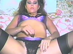 Retro young gentleman is masturbating her hot and hairy cunt