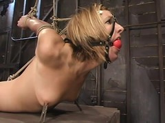 BDSM photograph in blonde Jolene getting glutton tied and toyed
