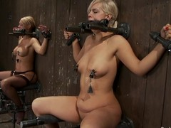 One girls get their pussies toyed and tits tormented