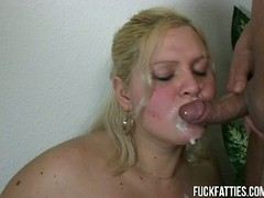 Blonde fat slut takes cocks outsider both ends