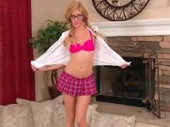 Schoolgirl is smoking hot in glasses