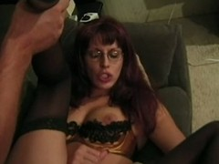 Lingerie tranny in glasses got drilled