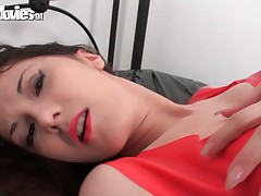 German amateur gets a hard orgasm with reference to latex